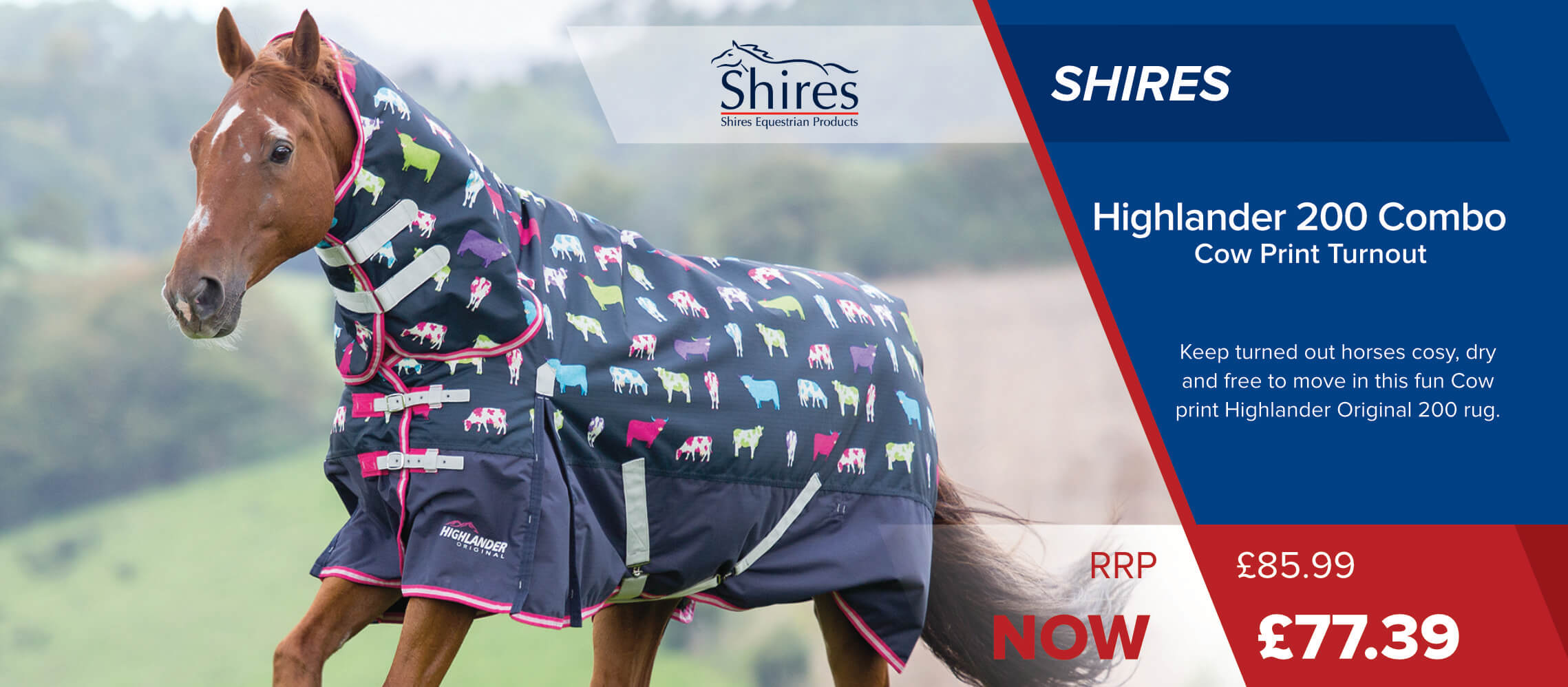 Shires Highlander 200 Combo Turnout - Cow Print