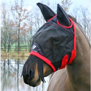 Hy Equestrian Mesh Half Mask With Ears and Fringe