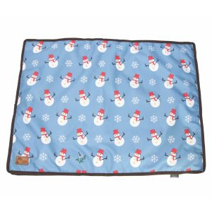 Benji & Flo Snowy the Snowman Dog Bed - Ice Blue/Chocolate
