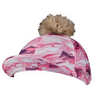 Weatherbeeta Marble Print Hat Silk - Pink Swirl Marble Print