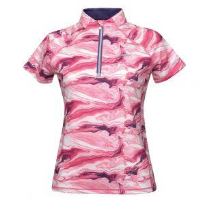 Weatherbeeta Ruby Printed Short Sleeve Top - Pink Swirl Marble Print