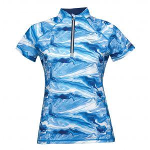 Weatherbeeta Ruby Printed Short Sleeve Top - Blue Swirl Marble Print