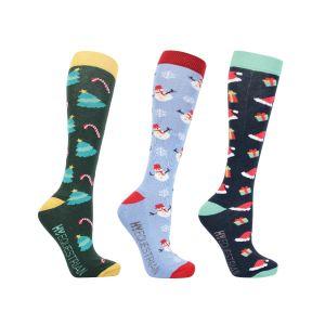 Hy Equestrian Christmas Season Socks (Pack of 3) - Adults (4-8)