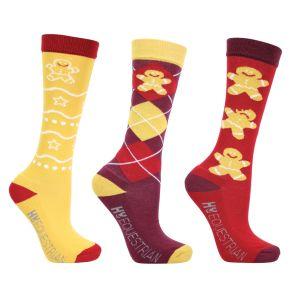 Hy Equestrian Gingerbread Man Mizs Socks (Pack of 3) - Sienna/Antique Red - Mizs 12-4