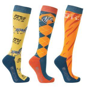 Hy Equestrian Born To Be Wild Socks (Pack Of 3) - Safari Orange/Petrol - Adult 4-8