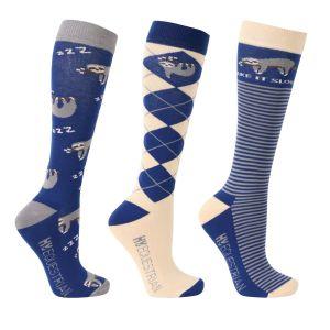Hy Equestrian Slow Sloth Socks (Pack of 3) - Navy/Brown/Grey - Adult 4-8