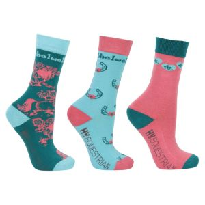 Hy Equestrian Thelwell Collection Children's Trophy Socks (Pack of 3) - Mint/Pink/Teal - Childs 8-12