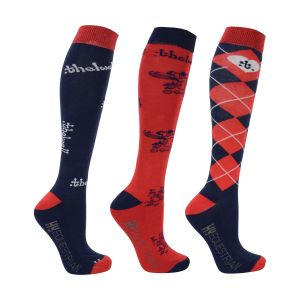 Hy Equestrian Thelwell Collection Socks (Pack of 3) - Adult 4-8