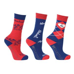 Hy Equestrian Thelwell Collection Socks (Pack of 3) - Childs 8-12