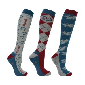 Hy Equestrian Thelwell Collection Horse Shoe Socks (Pack of 3) - Blue/Burgundy/Grey - Adults 4-8