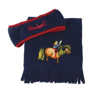 Hy Equestrian Thelwell Collection Fleece Headband and Scarf Set - Navy/Red