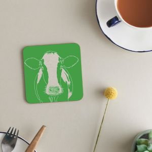 Deckled Edge Melamine Coasters - Pack of 6 - Cow