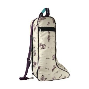 Hy Equestrian Thelwell Collection Country Boot Bag - Beige/Aubergine/Aquatic