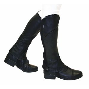 Dublin Stretch Fit Half Chaps Adults - Black Patent Piping
