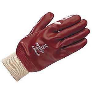Gloves PVC Fully Coated Knit Wrist - Red