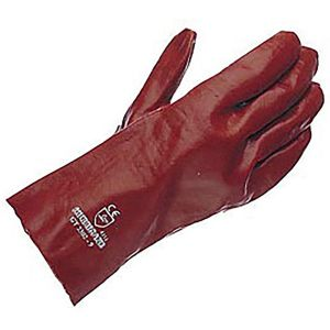 Gloves PVC Gauntlet Red