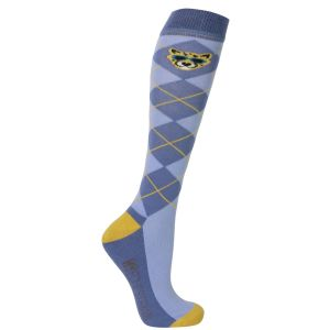 Hy Equestrian Chico the Cheetah Socks (Pack of 3) - Powder Blue/Gold/Classic Blue - Adults (4-8)