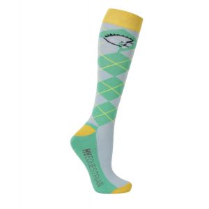 Hy Equestrian Competition Ready Socks (Pack of 3) - Green/Dark Green/Yellow - Adults (4-8)