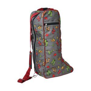 Hy Equestrian Country Walks Boot Bag - Burgundy/Grey