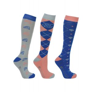 Hy Equestrian Diamond Socks (Pack of 3) - Electric Blue/Bright Coral/Grey - Adult 4-8