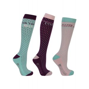 Hy Equestrian Dressage Socks (Pack of 3) - Powder Pink/Purple/Turquoise - Adult 4-8