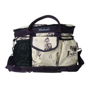 Hy Equestrian Thelwell Collection Country Grooming Bag - Beige/Aubergine/Aquatic