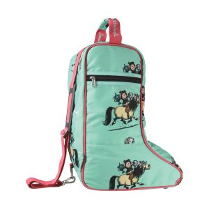 Hy Equestrian Thelwell Collection Trophy Jodhpur Boot Bag - Mint/Pink