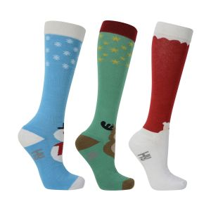 HyFASHION Christmas Santa, Snowman and Reindeer Socks (Pack of 3)