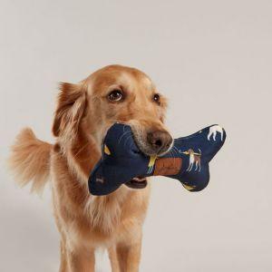 Joules Dog Print Bone Toy - Navy