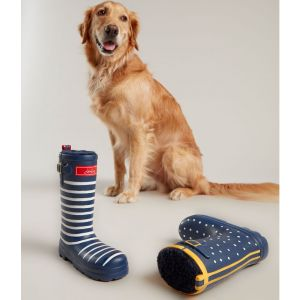 Joules Rubber Welly Dog Toy - Navy Spotty