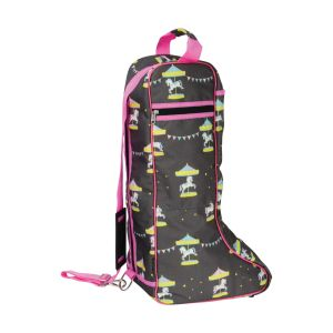 Merry Go Round Boot Bag - Grey/Pink - One Size