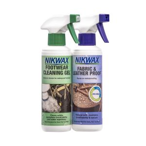 Nikwax Footwear Cleaning Gel/Fabric & Leather Proof Spray Twin Pack - 300ml