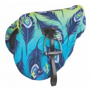 Shires Waterproof Ride On Saddle Cover - Lime Peacock