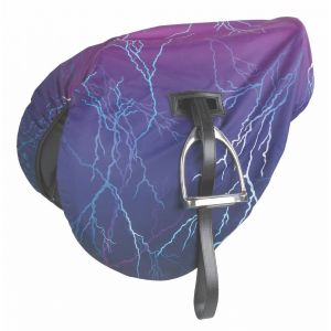 Shires Waterproof Ride On Saddle Cover - Purple Lightening