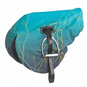 Shires Waterproof Ride On Saddle Cover - Teal Lightening