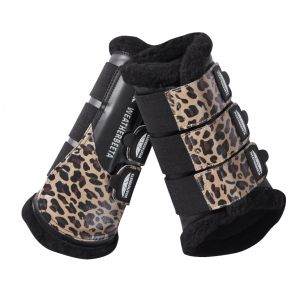 Weatherbeeta Leopard Brushing Boots - Brown Leopard