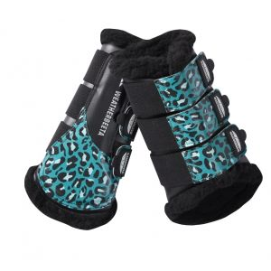 Weatherbeeta Leopard Brushing Boots - Turquoise Leopard