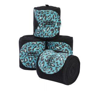 Weatherbeeta Leopard Fleece Bandage 4 Pack - Turquoise Leopard Print