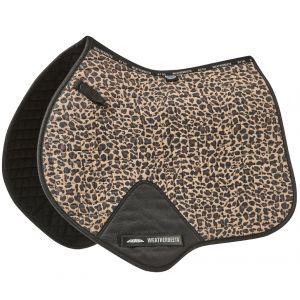 Weatherbeeta Prime Leopard Jump Shaped Saddle Pad - Brown Leopard Print