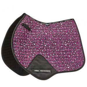 Weatherbeeta Prime Leopard Jump Shaped Saddle Pad - Pink Leopard Print