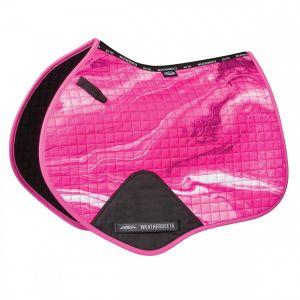 Weatherbeeta Prime Marble Jump Shaped Saddle Pad - Pink Swirl Marble Print