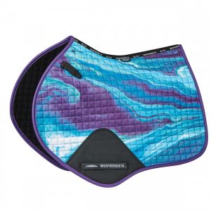 Weatherbeeta Prime Marble Jump Shaped Saddle Pad - Purple Swirl Marble Print