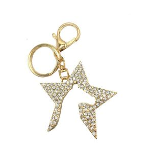Zeddy Diamante Key Ring - Gold/Diamante